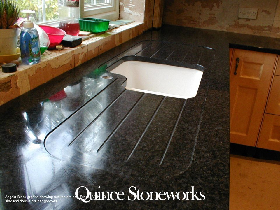 Angola Black granite showing sunken drainer, Franke VBK160 sink and double drainer grooves