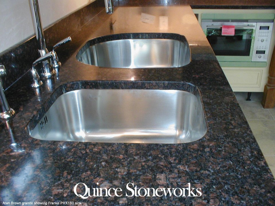 Atan Brown granite showing Franke PRX160 sink