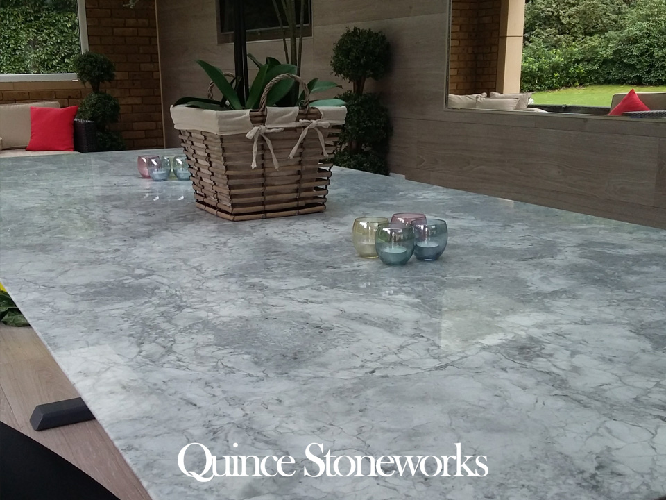 Bianco Eclipsia Natural Quartzite Marble Table Top with Shark Nose Edge