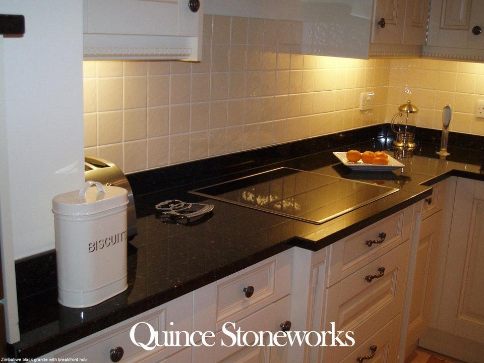 Black granite breakfront hob