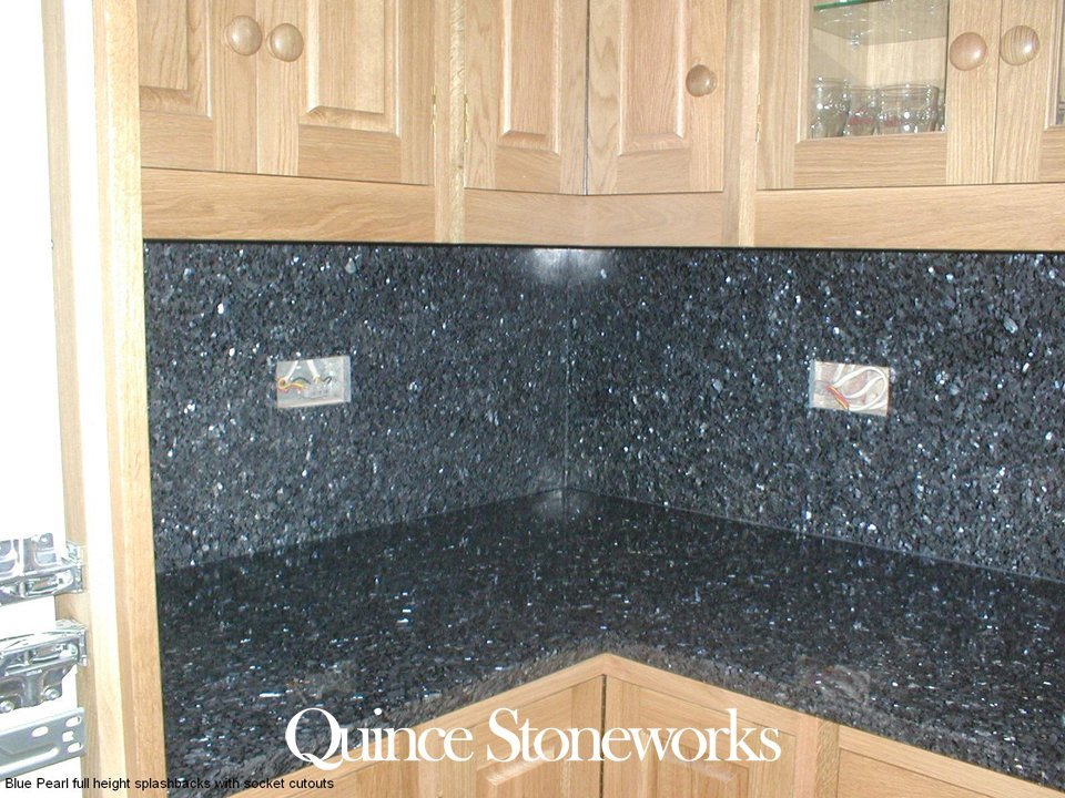 Blue Pearl full height splashbacks with socket cutouts