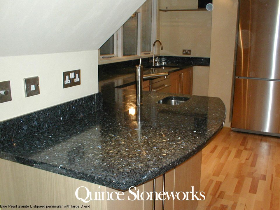 Blue Pearl granite L shpaed peninsular with large D end
