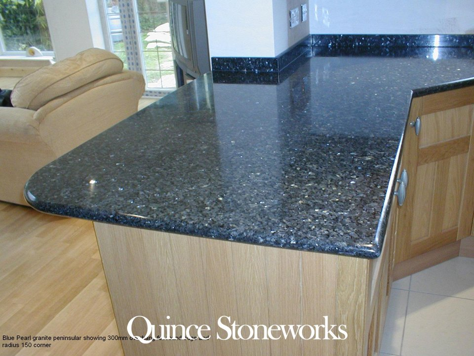 Blue Pearl granite peninsular showing 300mm overhang full round edge and radius 150 corner