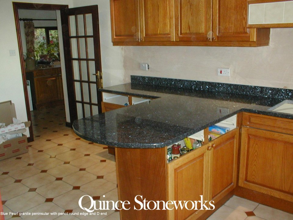 Blue Pearl granite peninsular with pencil round edge and D end
