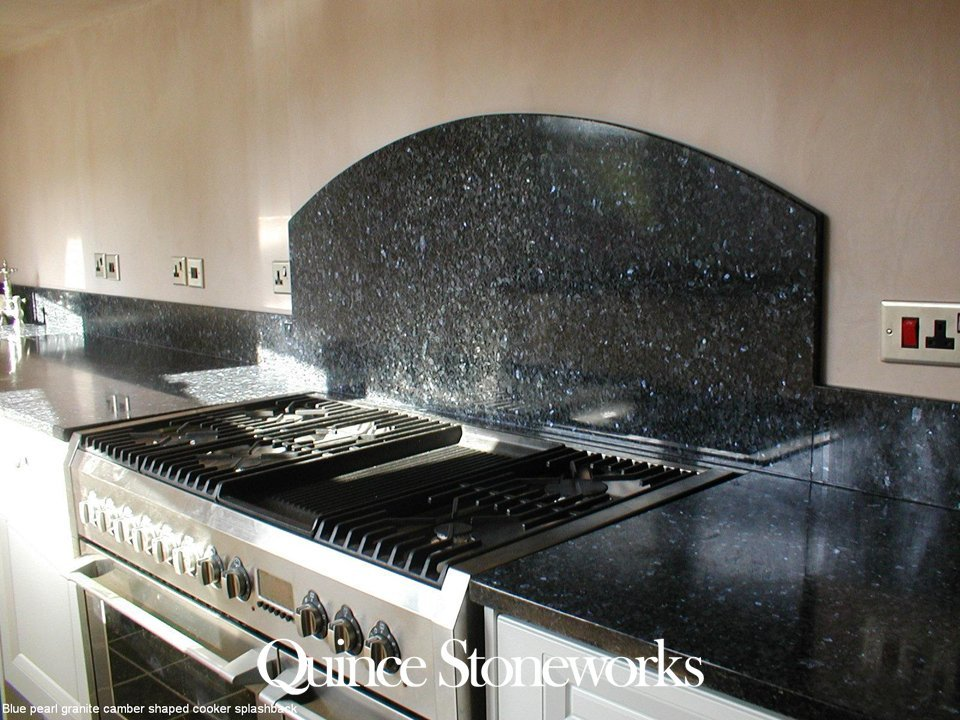 Blue pearl granite camber shaped cooker splashback