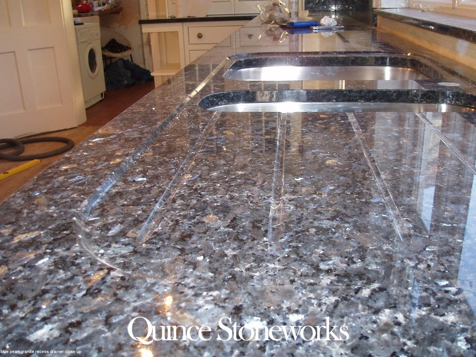 Blue pearl granite recess drainer close up