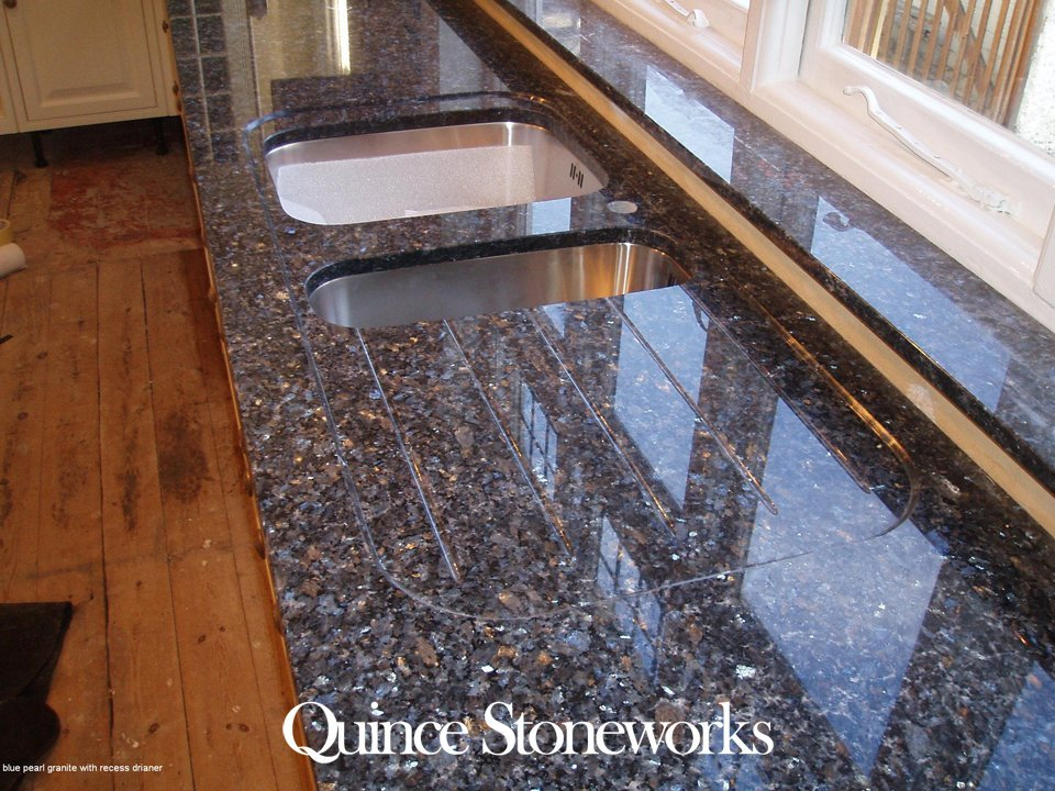 Blue pearl granite with recess drianer
