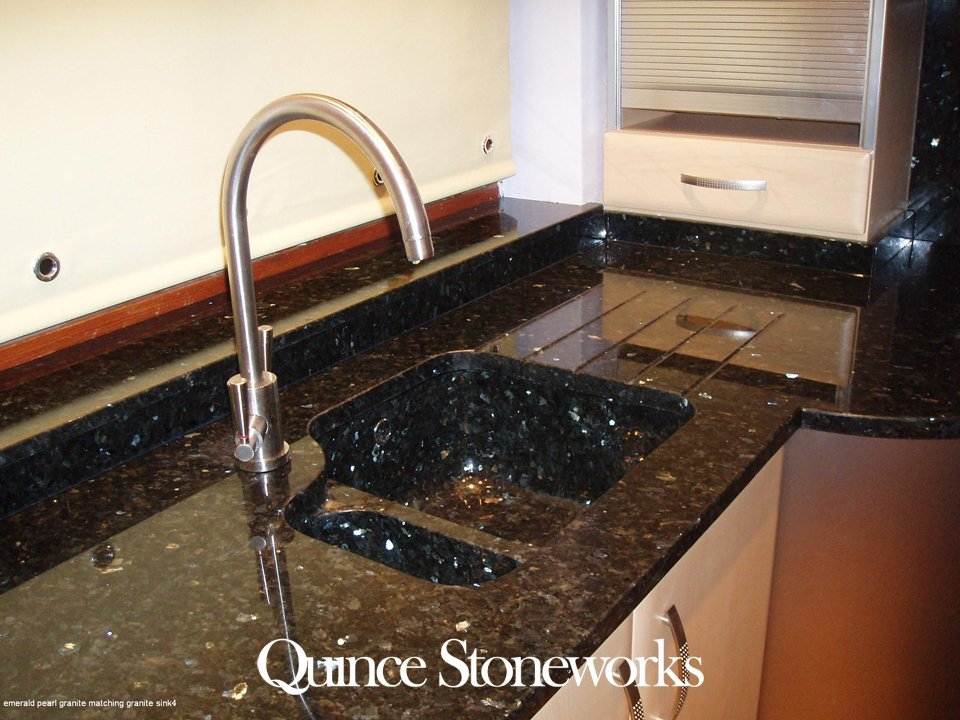 Emerald pearl granite matching granite sink 4
