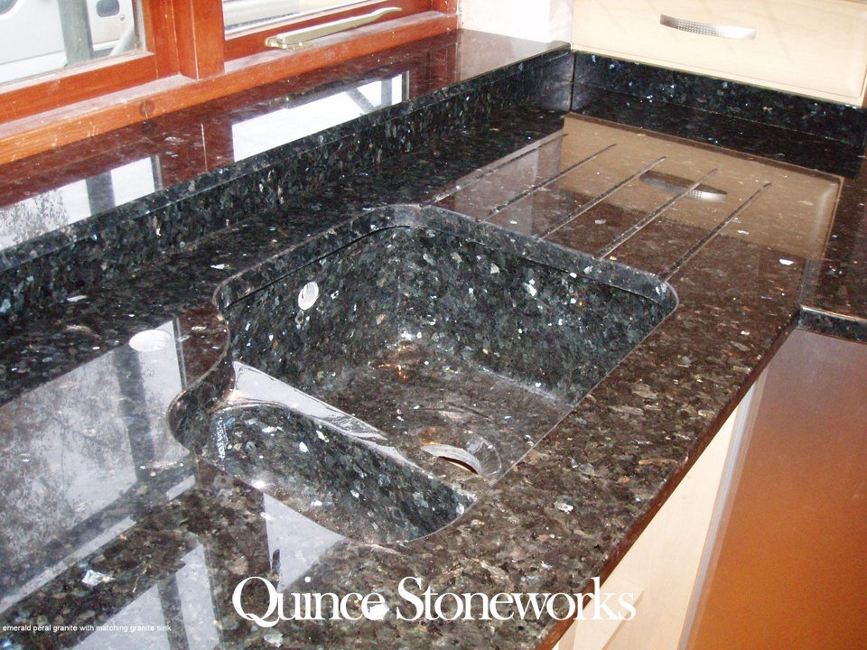 Emerald pearl granite with matching granite sink