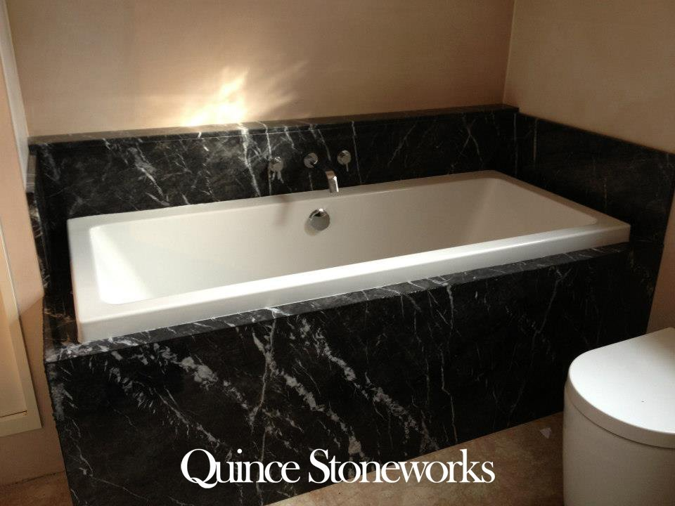 Grigio Carnico marble bath surround with mitred panels (2)