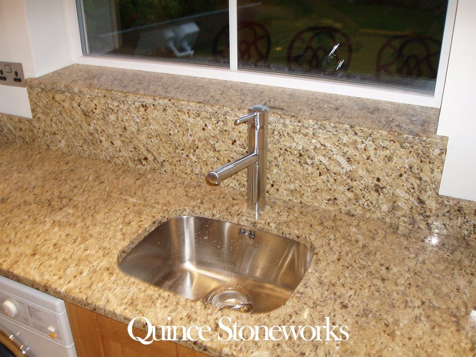 Imperial gold granite worktop showing undermount sink with window sill and riser