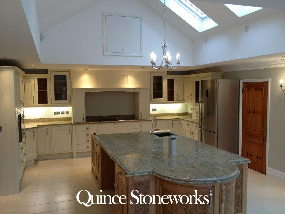 Kashmir Gold Granite Worktop Island with ogee and bullnose edge. Fitted in Bedford Bedfordshire