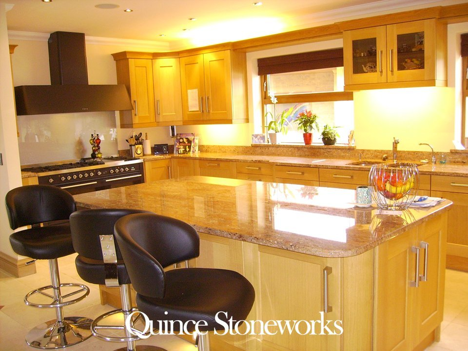 Rosewood granite kitchen overview