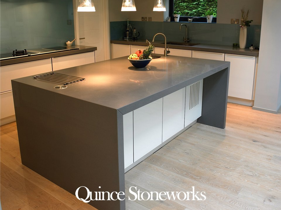 Silestone Gris Expo Quartstone With mitred edge to 50mm. Fitted in Cambridge Cambridgshire.