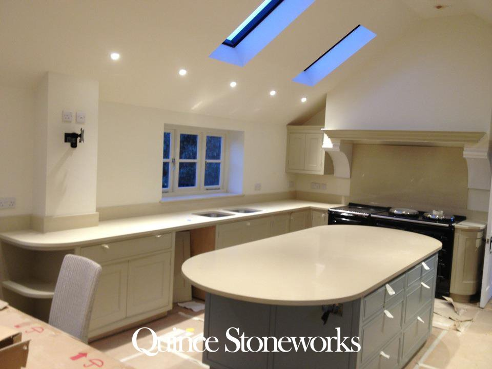 Silestone Haikiu Quartz worktop. With pencilod round edge and two D ends