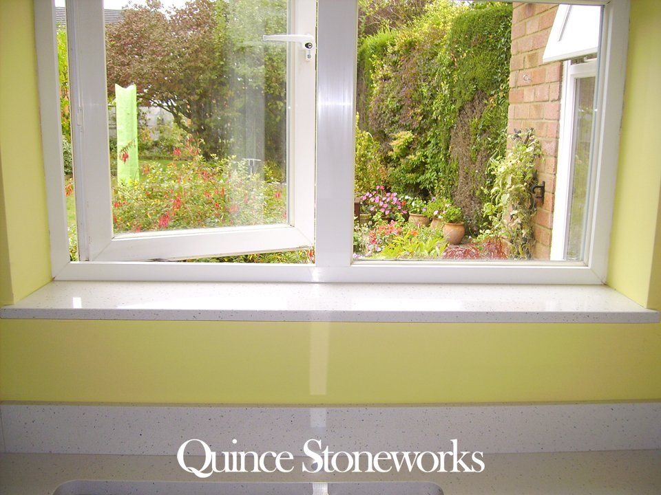 Quartz kitchen splashback and window ledge