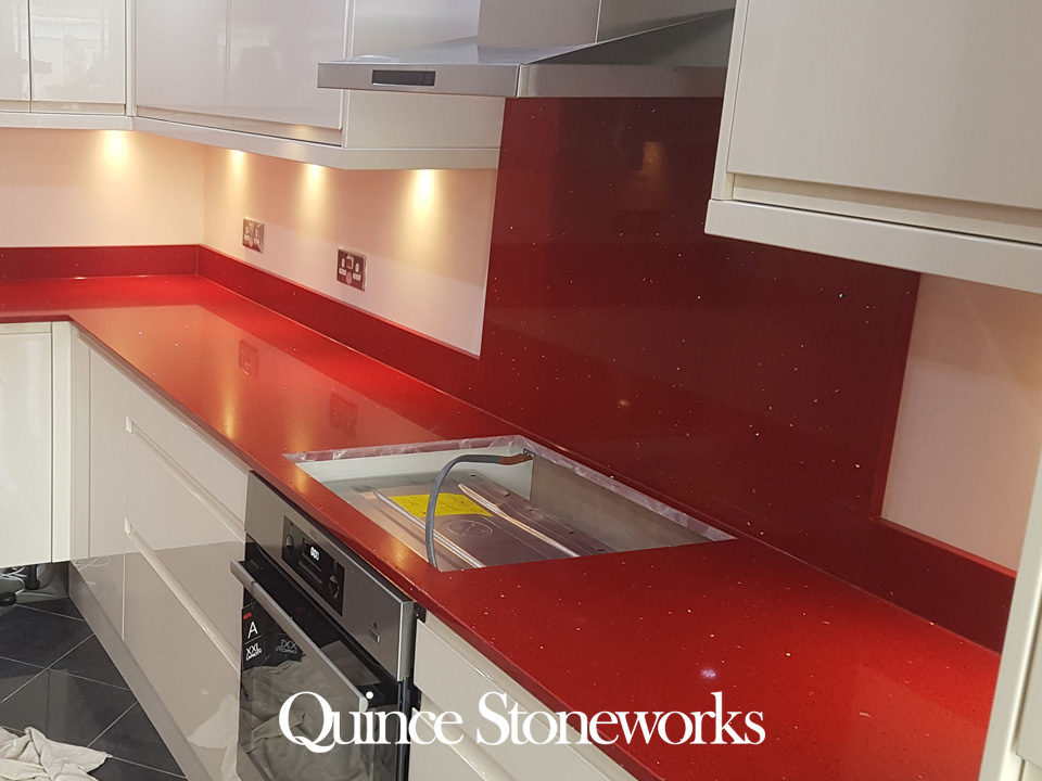 Technistone starlight Ruby red quartz worktop 20mm thick
