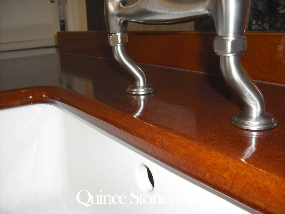 Toffee brown lavastone worktop sink detail