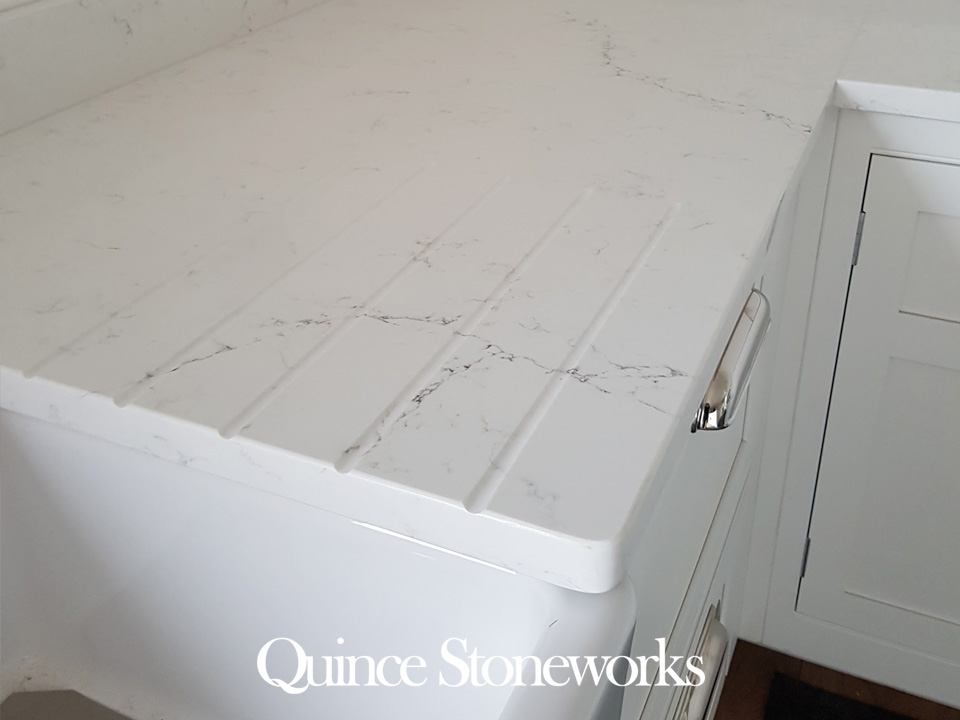 Unistone Bianco Misterio white quartz worktop