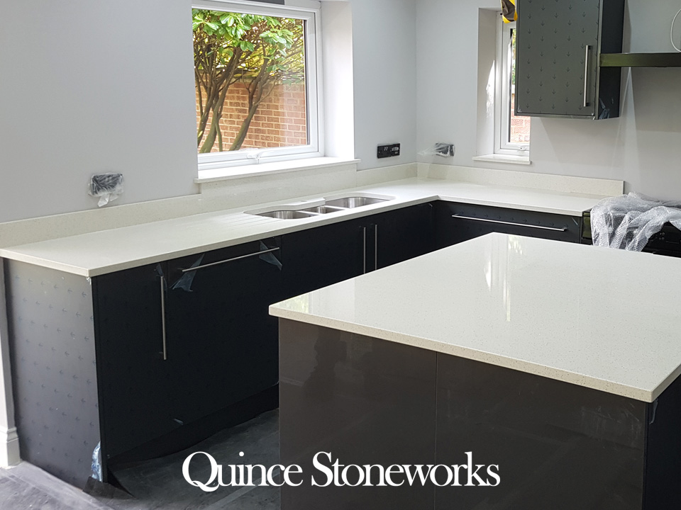 Unistone Bianco crystal quartz kitchen worktop