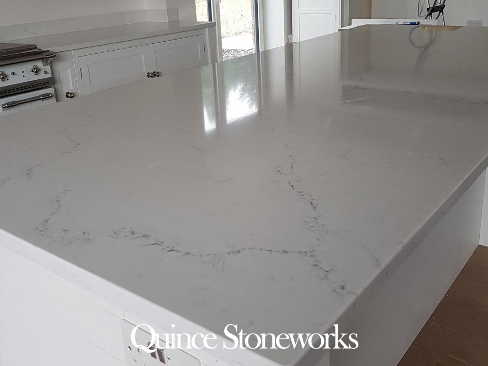 Unistone Carrara misterio quartz worktop island