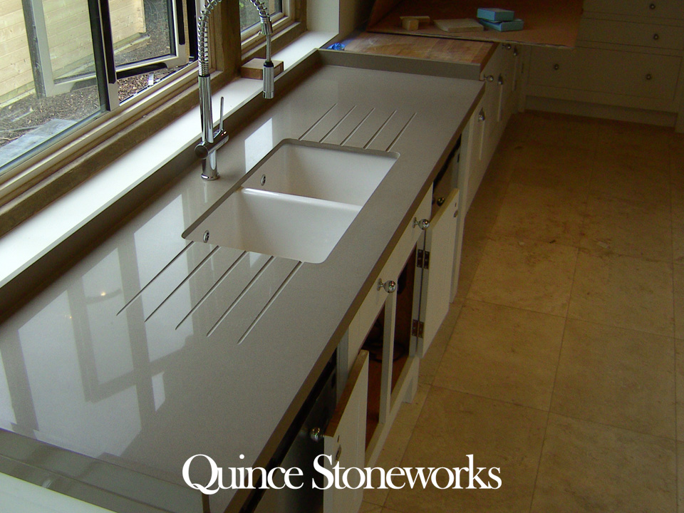 Unistone Grigio quartz workstation mitred to 45mm 3