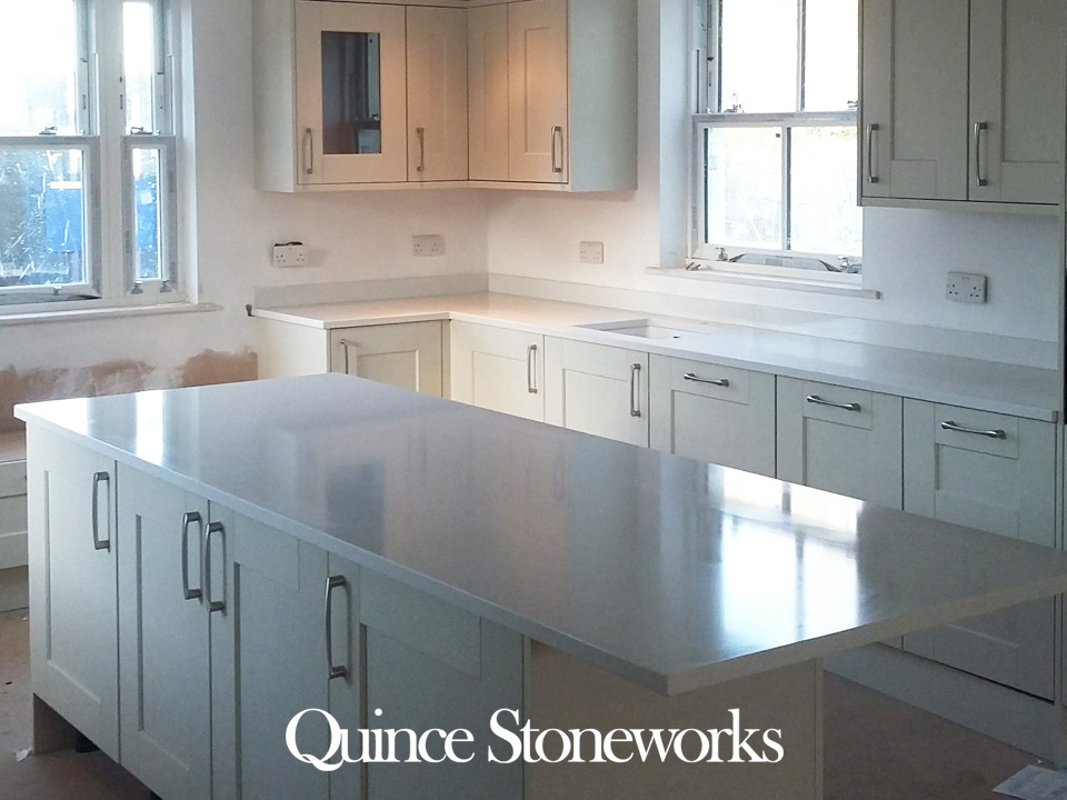 Unistone Bianco Carrara quartz worktop