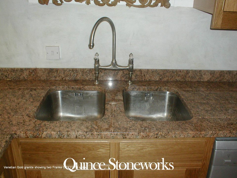 Venetian Gold granite showing two Franke CPX11034 sinks
