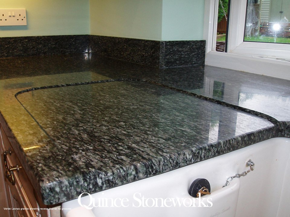 Verde Lavras granite showing recess drainer no grooves