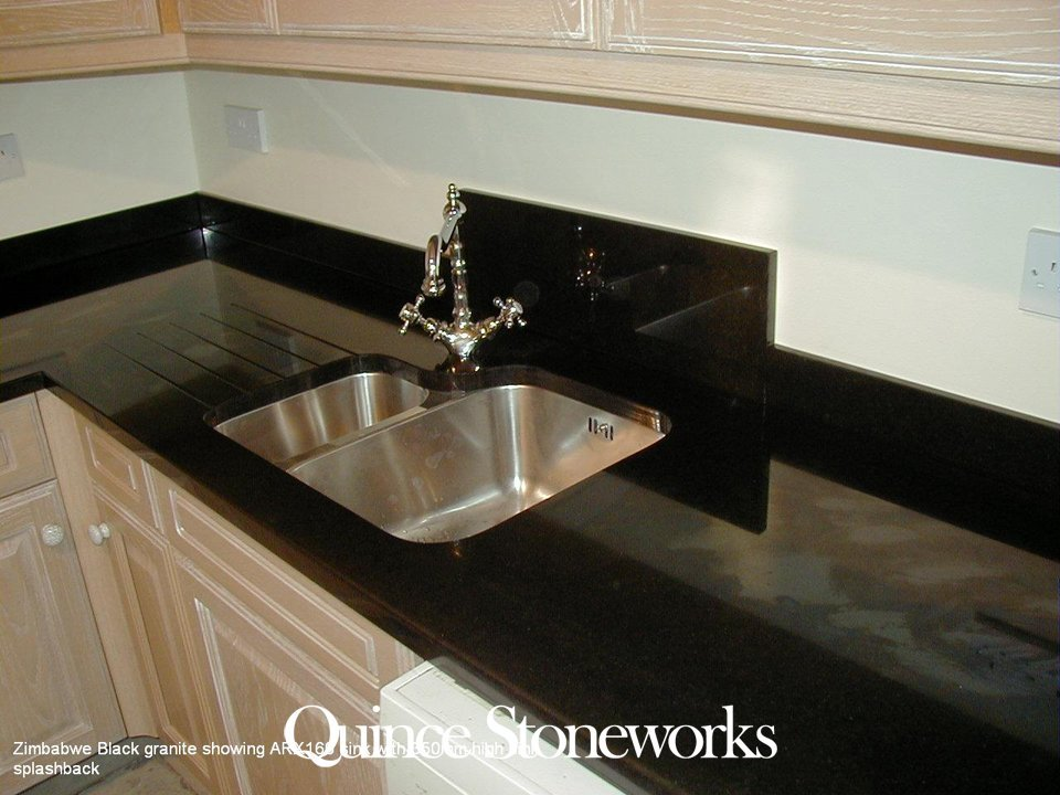 Zimbabwe Black granite showing ARX160 sink with 350mm high sink splashback