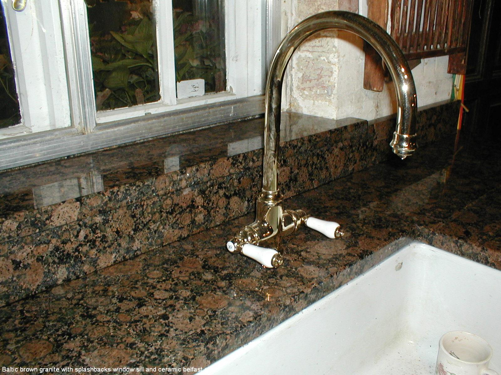 Ceramic Window Sills : Baltic brown granite with splashbacks window sill and
