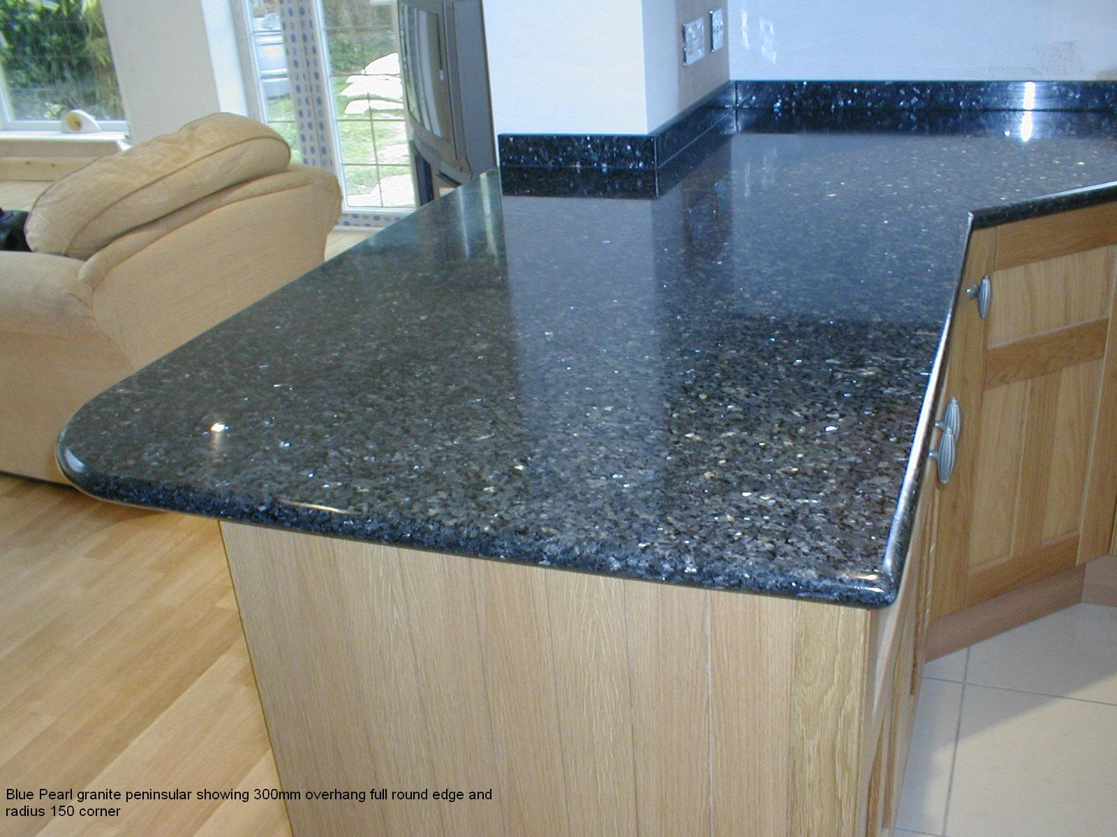 Blue Pearl Granite Peninsular Showing 300mm Overhang Full