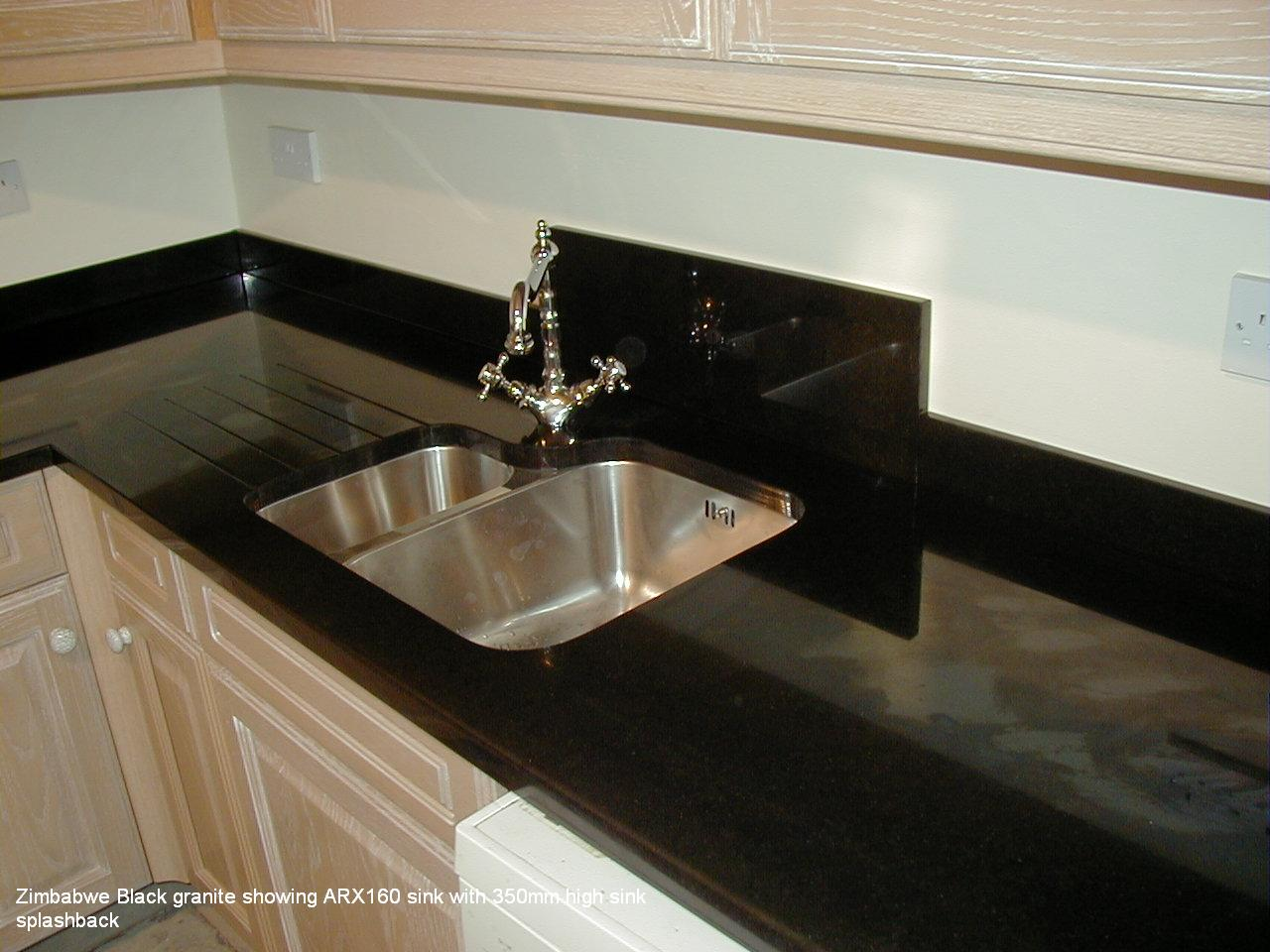 Zimbabwe Black Granite Showing Arx160 Sink With 350mm High Sink Splashback Quince Stoneworks